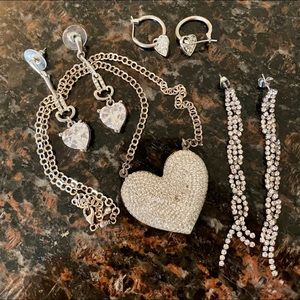 3 earrings and necklace bundle